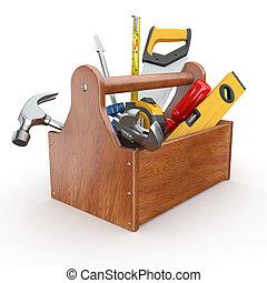 tools., martillo, llave inglesa, skrewdriver, caja de herramientas, handsaw