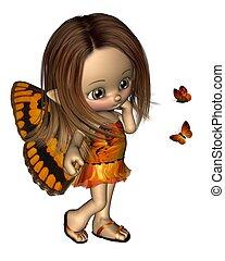 toon, mariposa, hada, -, naranja