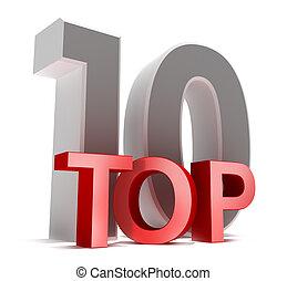 Top 10. Concepto 3D, aislado