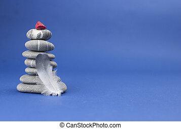 top., pluma, piedras, pirámide, balance, concepto