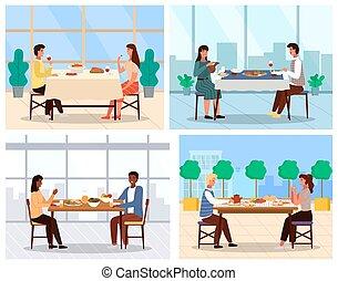 topic, tradicional, cenar, ilustraciones, platos, países, conjunto, pareja, diferente