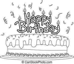 topper, torta de cumpleaños, colorido, contorneado, libro