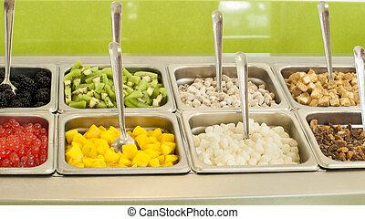 Toppings de yogur helado