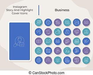toque de luz, medios, conjunto, historia, social, iconos, empresa / negocio, cubierta