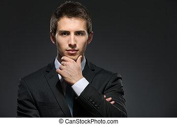 toques, el suyo, pensativo, empresa / negocio, cara, hombre