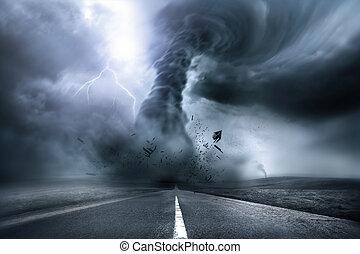 tornado, destructivo, fuerte