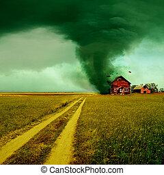 Tornado golpeando una casa