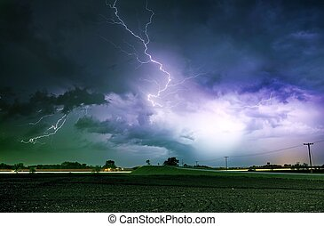 tornado, severo, callejón, tormenta