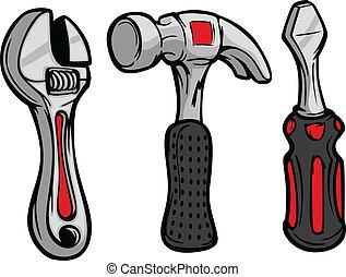 tornillo, martillo, conductor, caricatura, llave inglesa