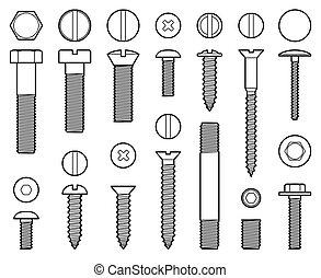 tornillos industriales tornillos, tuercas y uñas iconos vectoriales