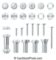 Tornillos, tornillos, nueces, uñas y remaches elementos de diseño de vectores realistas