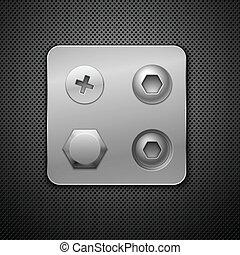 Tornillos y remaches. Elementos para tu diseño. Ilustración de vector realista.