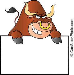 Toro marrón y signo en blanco