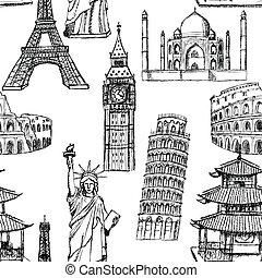 torre, bosquejo, mahal, chino, coliseum, vendimia, eiffel, pisa, seamless, vector, estatua, grande, patrón, ben, templo, taj, libertad
