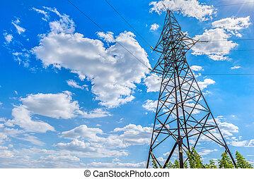 torre, cielo, electricidad
