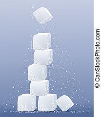 torre, cubo, azúcar