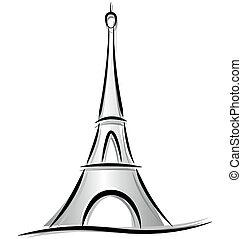 torre, eiffel, dibujo