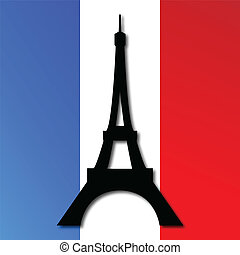 Torre Eiffel en una bandera francesa