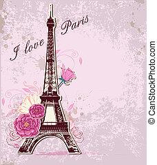 torre, eiffel, rosas