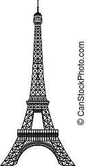 Torre Eiffel, silueta negra