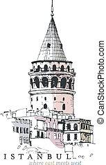 Torre Galata dibujando