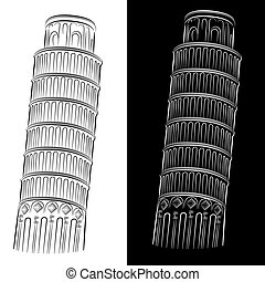 Torre inclinada de pisa dibujo