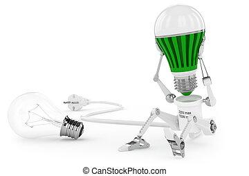 torsión, head., lámpara, fue adelante, robot