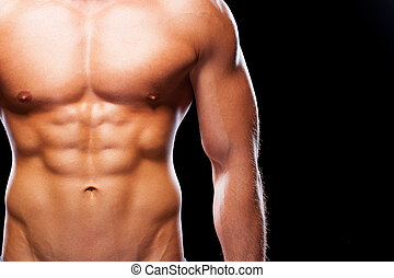 torso, muscular, primer plano, contra, negro, perfecto, joven, plano de fondo, hombre estar de pie, ideal., mirar