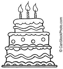 torta de cumpleaños, contorneado