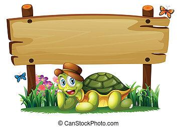 tortuga, de madera, debajo, tabla, sonriente, vacío