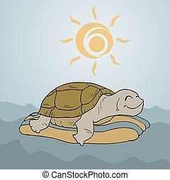 Tortuga feliz en el océano