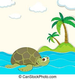 Tortuga nadando en el océano