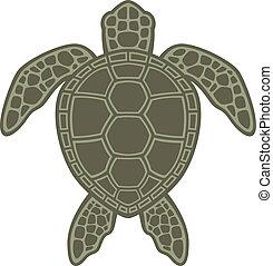 tortuga, verde, mar