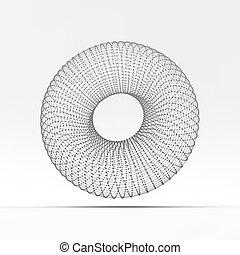 Torus. Lattice molecular. Estructura de conexión. 3D.