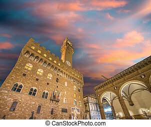 toscana, plaza, signoria, italy., -, detalle, arquitectónico, florencia, night., della