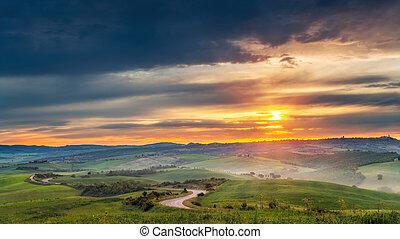 toscana, salida del sol, paisaje, colorido