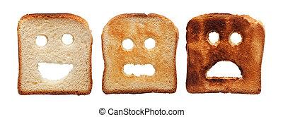 tostada, quemado, diferentemente, bread
