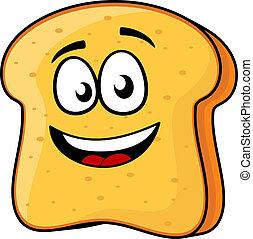 tostada, rebanada, sonrisa de emisión, o, bread