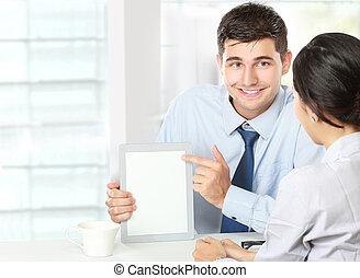 touchpad, socios, reunión, empresa / negocio, utilizar