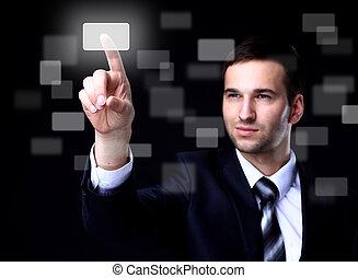 touchscreen, empresa / negocio, botón, oscuridad, planchado, plano de fondo, hombre