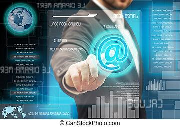 touchscreen, hombres de la corporación mercantil, conmovedor, interfaz, futurista