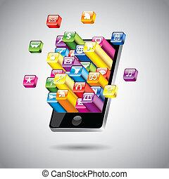 touchscreen, vector, smartphone, ilustración