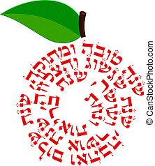tova, -, deseos, shana, manzana
