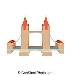 Tower Bridge en el icono de Londres, estilo de dibujos animados