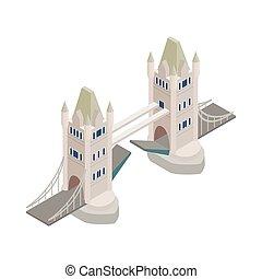 Tower Bridge en el icono de Londres, estilo isométrico 3D