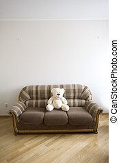 toy-bear, de madera, sofá, -, moden, lujo, interior, vestíbulo