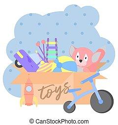 Toy Box, lleno de juguetes de niños incluyendo juguetes de peluche, pelota, coche, cohete, bicicleta, whirligig, xilófono.