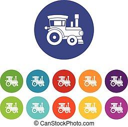 Toy train set iconos
