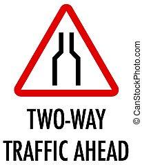 tráfico, adelante, plano de fondo, señal, bilateral, blanco