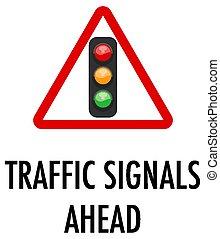 tráfico, adelante, plano de fondo, señales, señal, blanco